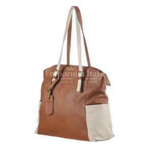 Borsa a spalla da donna in vera pelle CLERY, colore MARRONE/PANNA, CHIARO SCURO, MADE IN ITALY