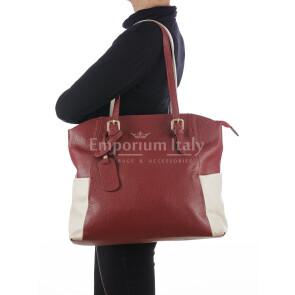 Borsa a spalla da donna in vera pelle CLERY, colore ROSSO/PANNA, CHIARO SCURO, MADE IN ITALY