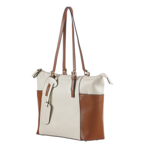 Borsa a spalla da donna in vera pelle CLERY, colore PANNA/MARRONE, CHIARO SCURO, MADE IN ITALY