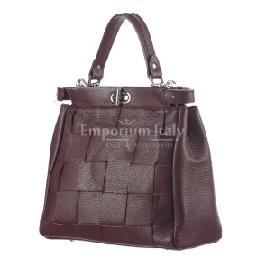 Borsa a mano da donna in vera pelle DALILA, colore BORDEAUX, CHIARO SCURO, MADE IN ITALY