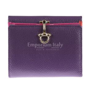 Portafoglio in vera pelle da donna MIMOSA, colore VIOLA, SANTINI, MADE IN ITALY