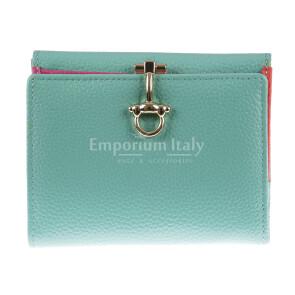 Portafoglio in vera pelle da donna MIMOSA, colore AZZURRO, SANTINI, MADE IN ITALY