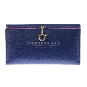 Portafoglio in vera pelle da donna MIMOSA, colore BLU, SANTINI, MADE IN ITALY