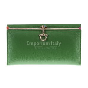 Portafoglio in vera pelle da donna MIMOSA MAXI, colore VERDE, SANTINI, MADE IN ITALY