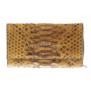Portafoglio donna in pelle di pitone GIACINTO, certificato CITES, colore MIELE, SANTINI, MADE IN ITALY