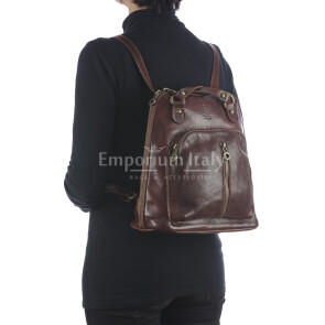Borsa zaino donna in vera pelle MONTE CRISTALLO, colore MARRONE, MAESTRI, MADE IN ITALY
