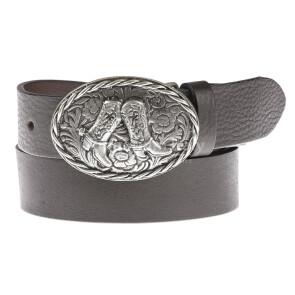 Cintura in vera pelle da uomo HOUSTON, colore TESTA MORO, fibbia in metallo con stivali da cowboy texani, EMPORIO TITANO, MADE IN ITALY