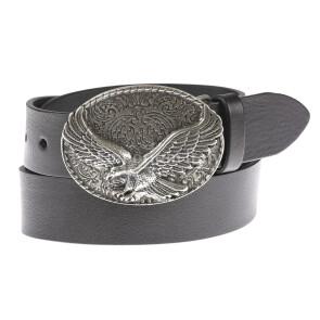 Cintura in vera pelle da uomo OKLAHOMA, colore NERO, fibbia in metallo con aquila, EMPORIO TITANO, MADE IN ITALY