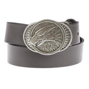 Cintura in vera pelle da uomo KANSAS, colore TESTA MORO, fibbia in metallo con testa d'aquila, EMPORIO TITANO, MADE IN ITALY