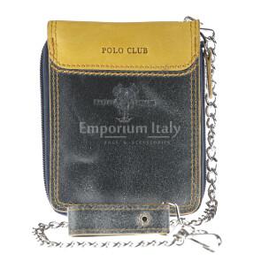 Portafoglio in vera pelle da uomo BOSTON, colore BLU JEANS/GIALLO, HARVEY MILLER - POLO CLUB, MADE IN ITALY