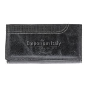 Portafoglio in vera pelle nabuk da uomo ISLANDA, colore NERO, BB CAVALLI, MADE IN ITALY