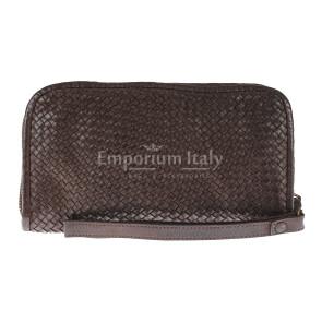 Pochette uomo da polso in vera pelle vintage LIAM, colore TESTA DI MORO, CHIARO SCURO, MADE IN ITALY