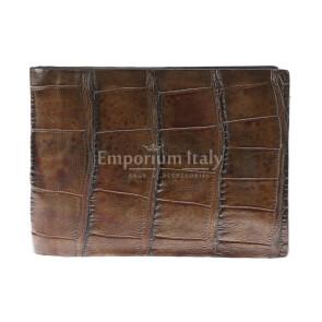 Portafoglio in vera pelle di coccodrillo da uomo DARWIN, certificato CITES, colore MARRONE, GUIDO VIETRI, MADE IN ITALY