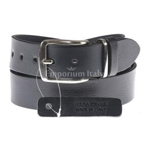 Cintura uomo in vera pelle L'AQUILA, colore NERO, EMPORIO TITANO, Made in Italy
