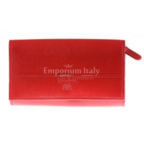 Portafoglio in vera pelle da donna LOTUS FLOWER, colore ROSSO, EMPORIO VALENTINI, MADE IN ITALY