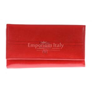 Portafoglio in vera pelle da donna CYNARA, colore ROSSO, EMPORIO VALENTINI, MADE IN ITALY