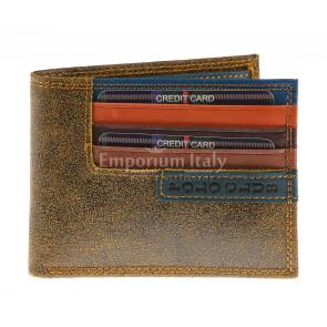 Portafoglio in vera pelle nabuk da uomo CAMBRIDGE, colore MIELE, HARVEY MILLER - POLO CLUB, MADE IN ITALY