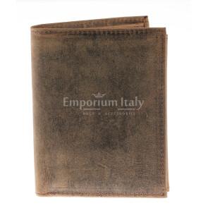 Portafoglio da uomo in vera pelle nabuk TIRANA, colore TESTA MORO, RINO DOLFI, MADE IN ITALY