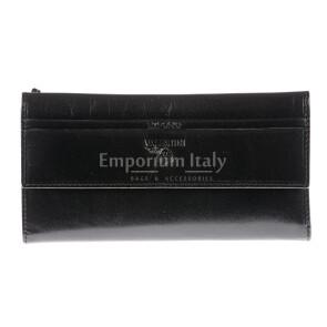 Portafoglio in vera pelle da donna ZAGARA, colore NERO, EMPORIO VALENTINI, MADE IN ITALY
