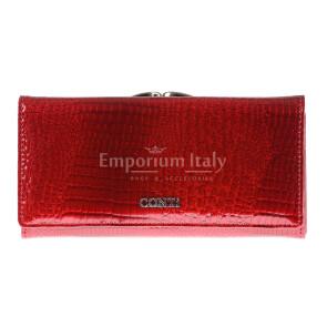 Portafoglio in vera pelle da donna BLUEBELL colore ROSSO, CONTI, MADE IN ITALY