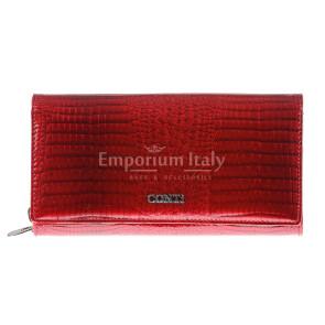 Portafoglio in vera pelle da donna ERICA, colore ROSSO, CONTI, MADE IN ITALY