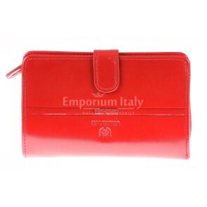 Portafoglio in vera pelle da donna SUFFLOWER, colore ROSSO, EMPORIO VALENTINI, MADE IN ITALY