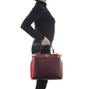 Borsa a mano da donna in vera pelle ATENA, colore BLU/BORDEAUX, CHIARO SCURO, MADE IN ITALY