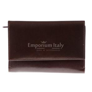 Portafoglio in vera pelle da donna ACACIA, colore TESTA MORO, SANTINI, MADE IN ITALY