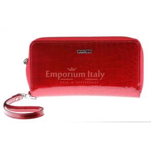 Portafoglio in vera pelle da donna MIRTO, colore ROSSO, CONTI, MADE IN ITALY