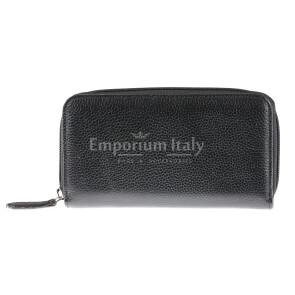 Portafoglio donna in vera pelle tradizionale SANTINI mod CAMOMILLA colore NERO Made in Italy