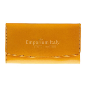 Portafoglio donna in vera pelle tradizionale SANTINI mod GLADIOLO colore GIALLO Made in Italy