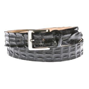 Cintura uomo in vera pelle coccodrillo ELIO ZAGATO mod. KIEV olore NERO Made in Italy