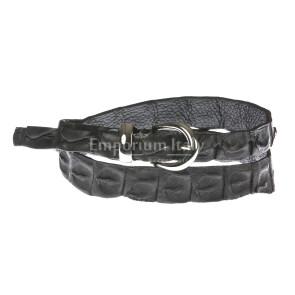 Cintura donna in vera pelle coccodrillo ELIO ZAGATO mod. RABAT colore NERO Made in Italy
