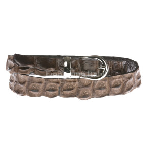 Cintura donna in vera pelle coccodrillo ELIO ZAGATO mod. RABAT colore TESTA DI MORO Made in Italy