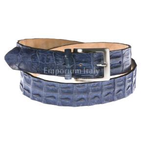 Cintura uomo in vera pelle coccodrillo ELIO ZAGATO mod. KIEV colore BLU Made in Italy