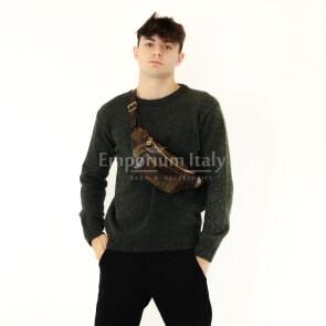 Borsa / marsupio da uomo in vera pelle stampata, MAESTRI, mod. LENY, colore MULTICOLORE / MIMETICO, Made in Italy