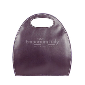 Borsa donna in vera pelle RINO DOLFI mod. WINONA, colore VIOLA, Made in Italy.