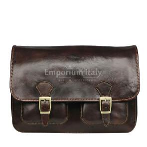 Tracolla da uomo, in cuoio, mod RUDOLF colore : TESTA DI MORO, Made in Italy.
