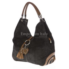 Borsa donna in vera pelle DELIA REI mod. BONELLA big colore NERO Made in Italy
