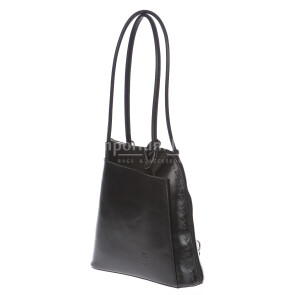 Borsa zaino donna in vera pelle RINO DOLFI mod. MONTE CIMONE colore NERO Made in Italy.
