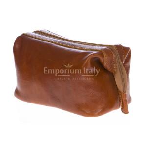 Borsa beauty uomo / donna in vera pelle MAESTRI mod. ENDY colore MIELE Made in Italy