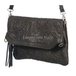 Borsa donna in vera pelle CHIARO SCURO mod. CALIPSO colore NERO Made in Italy