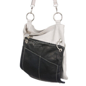 Borsa donna in vera pelle SANTINI mod. SILVIA colore BEIGE NERO Made in Italy