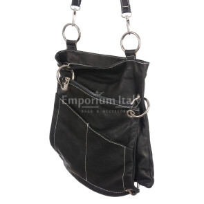 Borsa donna in vera pelle SANTINI mod. SILVIA colore NERO Made in Italy