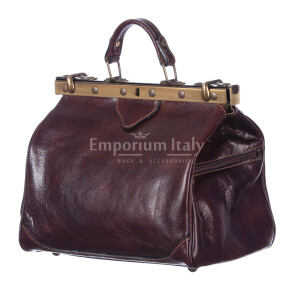 Borsa donna in vera pelle MAESTRI mod. TARO colore TESTA DI MORO Made in Italy