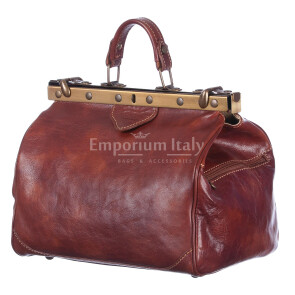 Borsa donna in vera pelle MAESTRI mod. TARO colore MARRONE Made in Italy