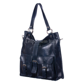 Borsa donna in vera pelle MAESTRI mod. BETTY colore BLU Made in Italy