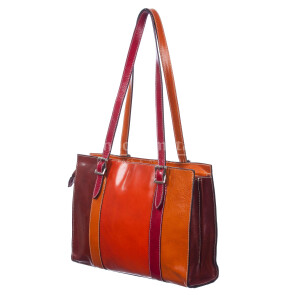 Borsa donna in vera pelle SANTINI mod. LUISELLA colore MULTICOLORE Made in Italy