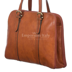 Borsa donna in vera pelle SANTINI mod. SELVAGGIA colore MIELE Made in Italy