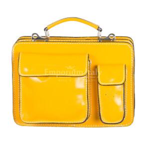 Borsa in vera pelle MAESTRI mod. ALEX small colore GIALLO Made in Italy